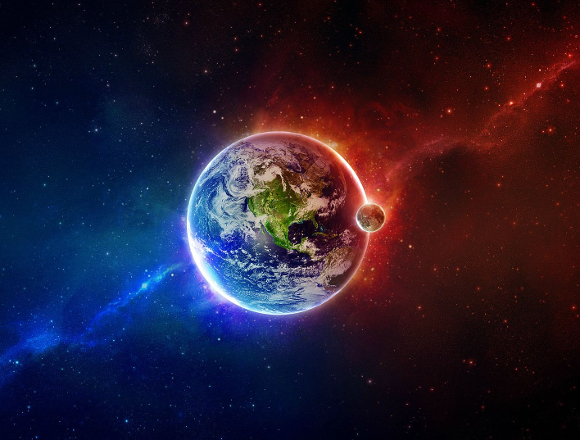 Earth with red and blue background